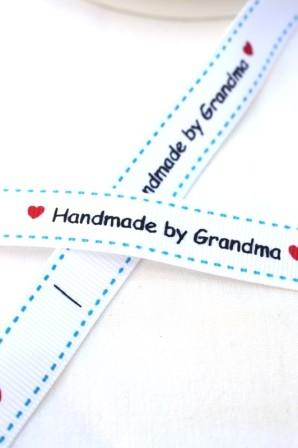 Handmade by Grandma, blau, Ripsband
