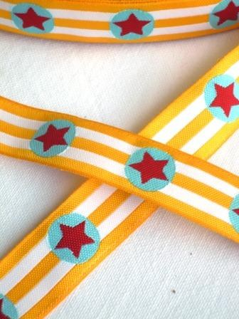 Sterne, gelbgestreift, Webband