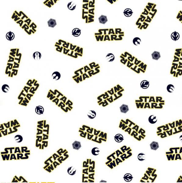 Star Wars-Logo auf weiß, Bio-Baumwoll-Popeline
