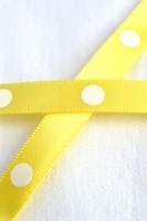 Satinband, single dots, gelb, 10 mm