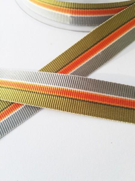 Streifen oliv-orange-grau, Ripsband