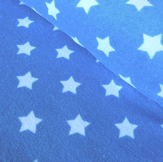Stretchfrottee, Sterne weiß auf türkisblau *SALE*