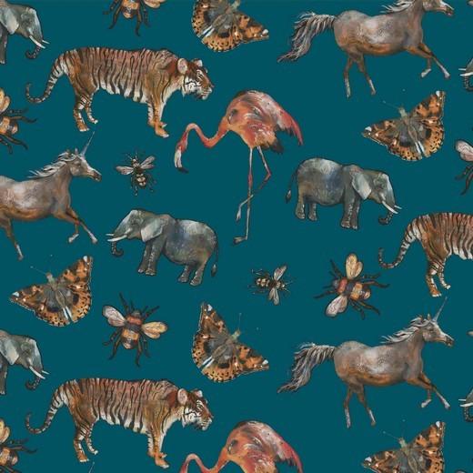 Digitaldruck Tiere in Afrika, petrol, Baumwollstoff, waschbar bei 60°
