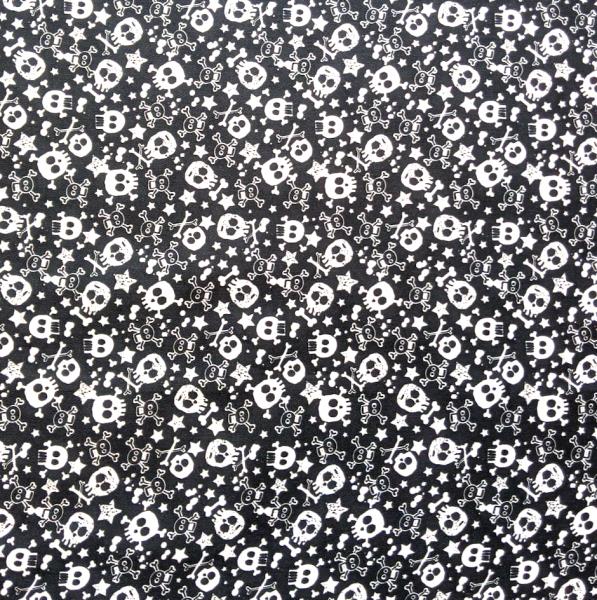 Skulls weiß auf schwarz, Webstoff