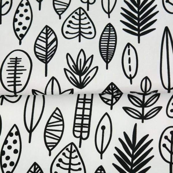 Stenzo Blätterreigen schwarz auf weiß, Popeline