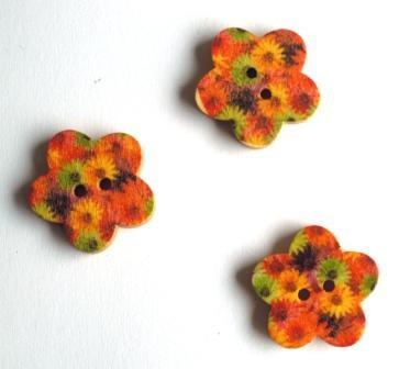 Blume, orange-gelb-grün, Holzknopf