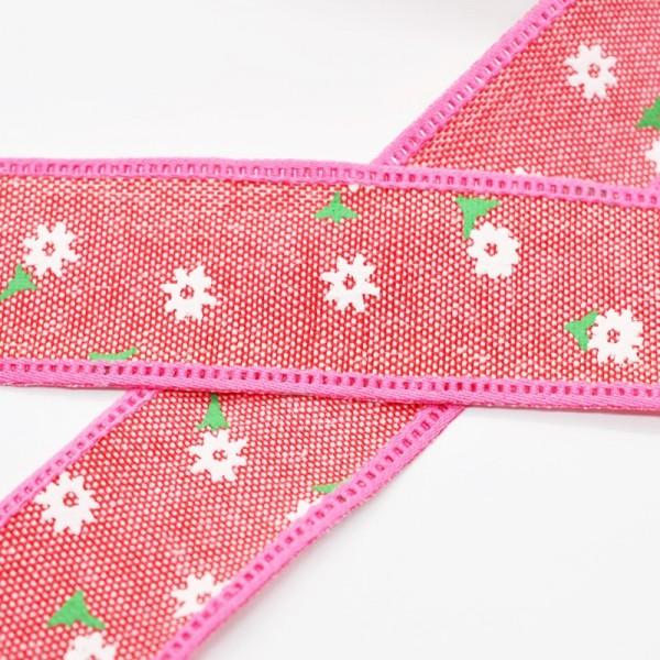 Blumen und Blätter, pink, Baumwollband