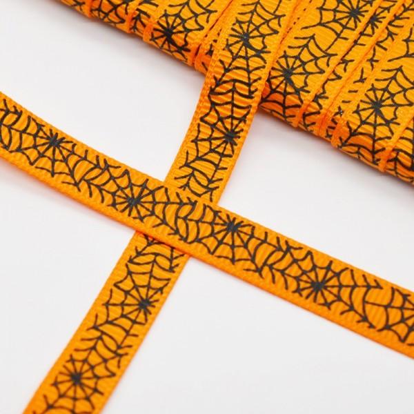 Ripsband, Halloween Spinnweben auf orange