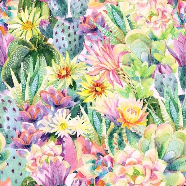 Dekostoff Kaktus bunt