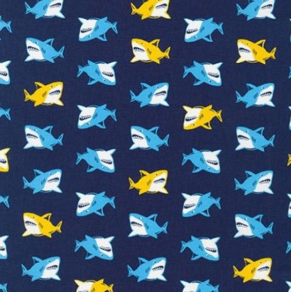 Sevenberry, Sharks auf blau, Baumwollstoff