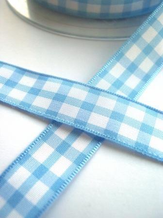 Stoffband, hellblau kariert (groß), 15 mm