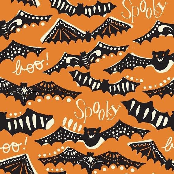 blendfabrics, Spooktacular Eve Gone Spooky Orange, Webstoff