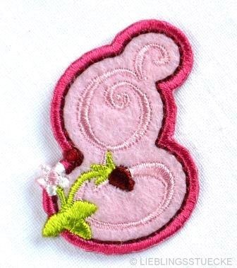 Applikation Buchstabe g, rosa