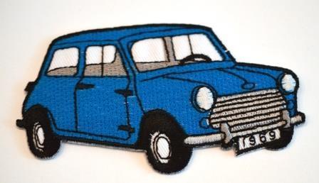 Applikation Retro Auto, blau