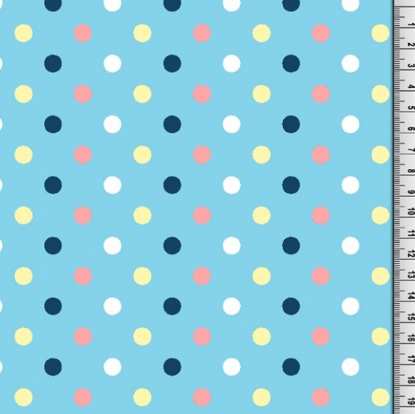 Festes Laminat/Wachstuch, Franz, Punkte bunt auf hellblau