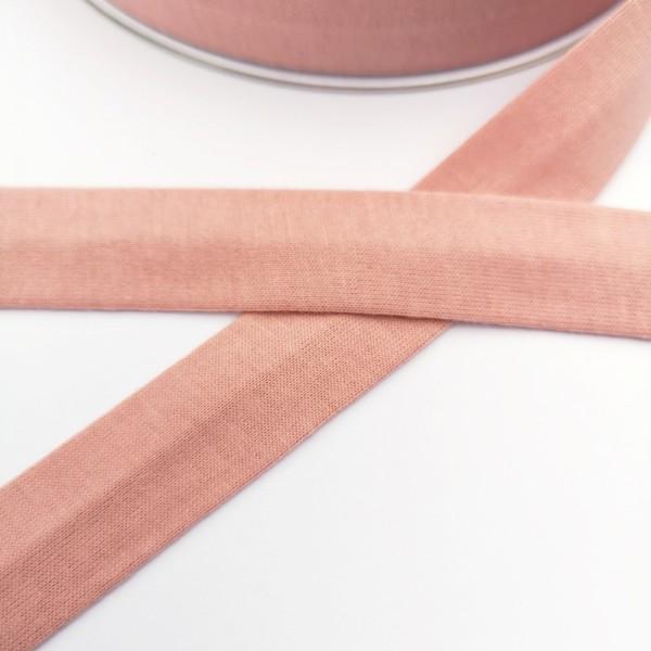 Baumwolljersey-Schrägband ohne Elasthan, altrosa