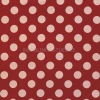 Cosmo Punkte beige auf rot, Leinenstoff
