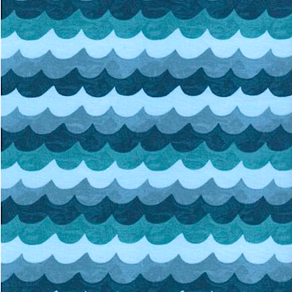 Cotton+Steel, Amalfi Waves blue, Baumwollstoff