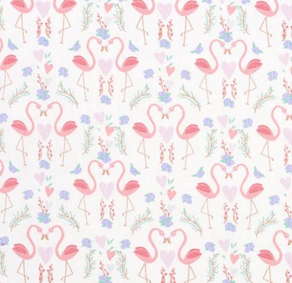 Flamingo Love auf offwhite, Baumwollpopeline