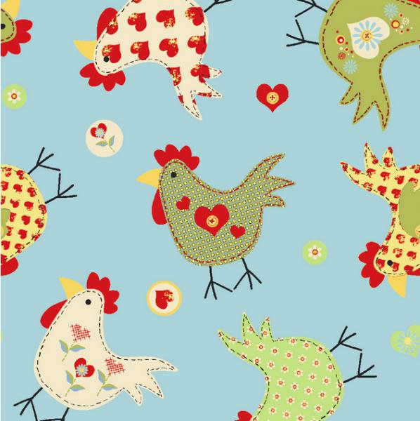 Funny Chicks auf hellblau, Baumwollstoff