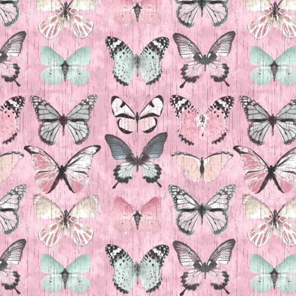 Dekostoff, Vintage Butterfly rosa