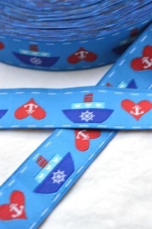 Maritim Love, blau, Webband