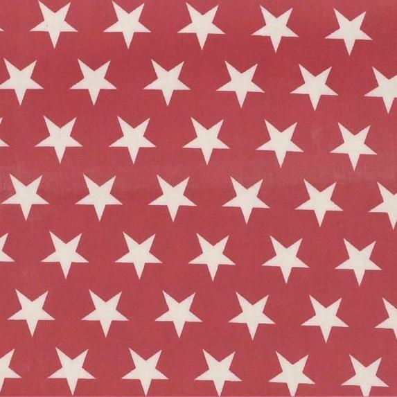 Alex, beschichtete Baumwolle, Sterne weiß auf rot