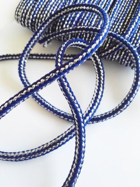 Glitzerflechtkordel, dunkelblau-silber