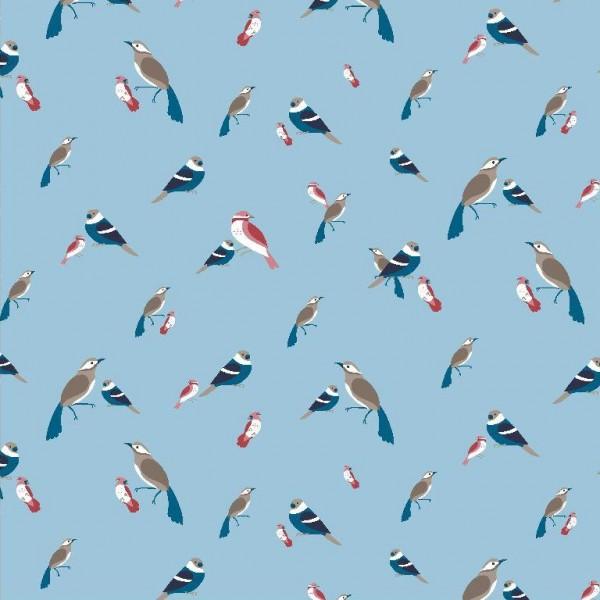 Viskosewebstoff Waldvögelchen, hellblau