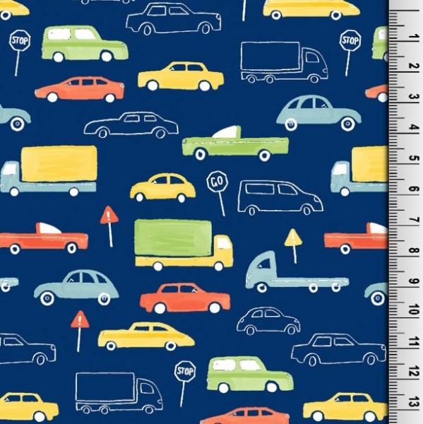 Autos auf der Straße dunkelblau, Jersey