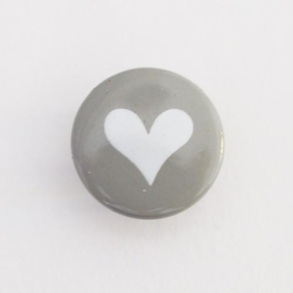 Druckknopf, Herz weiß auf grau, 10 mm