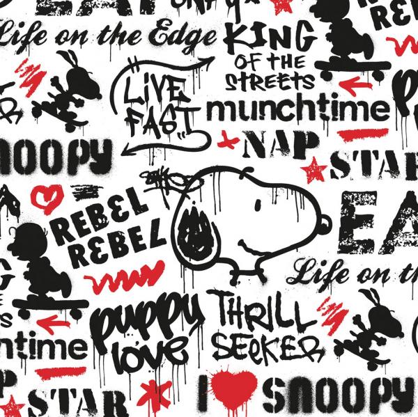 Peanuts, Snoopy Graffitti Star weiß, Bio-Jersey