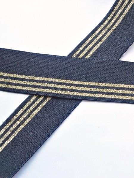 Gummiband breit, schwarz mit goldenen Streifen