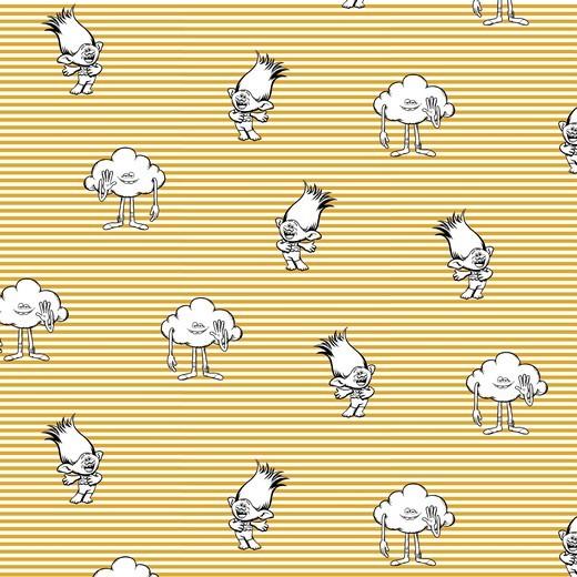 Trolls gelb gestreift, Baumwolllstoff, waschbar bei 60°