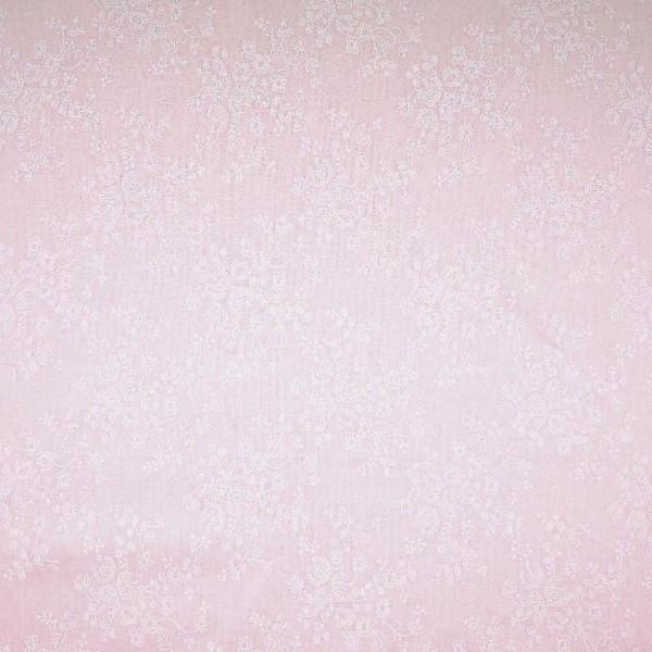 Blümchenranke auf zartrosa, Baumwoll-Batist