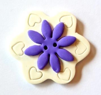 Blume, lila-weiß, Fimoknopf *SALE*