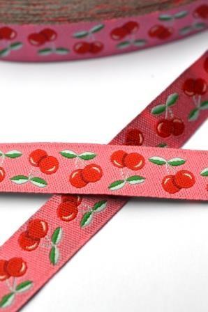 Jolly Cherry Kirschen, pink-rot, Webband