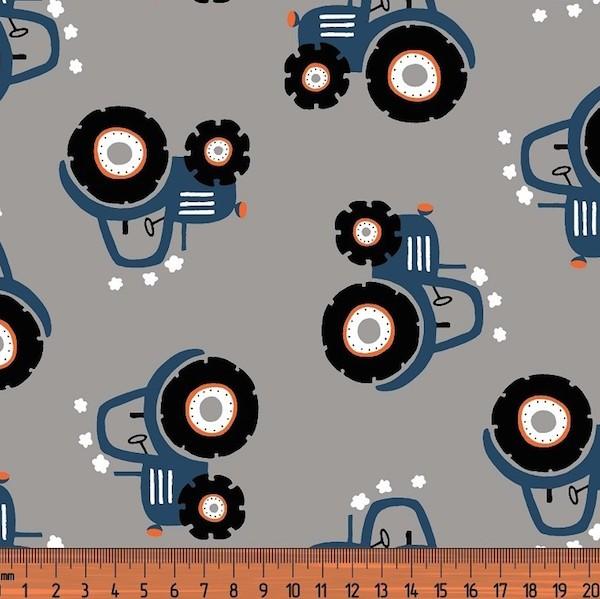 Traktor dunkelblau auf grau, Jersey
