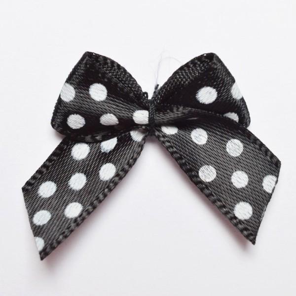 Satinschleife mit Pünktchen, schwarz, klein