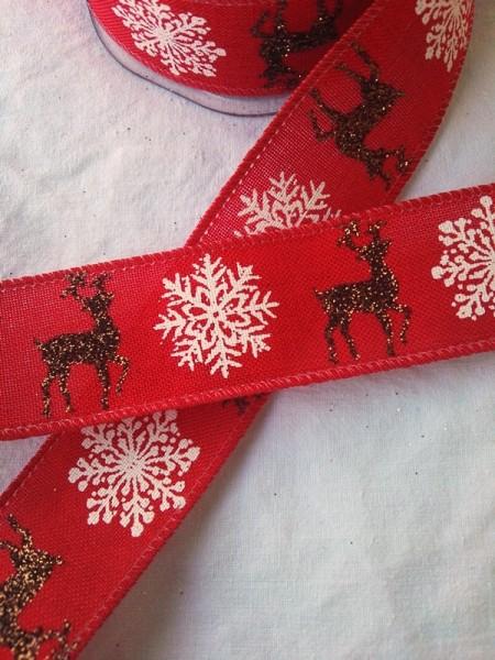 Weihnachtsband Hirsch, rot