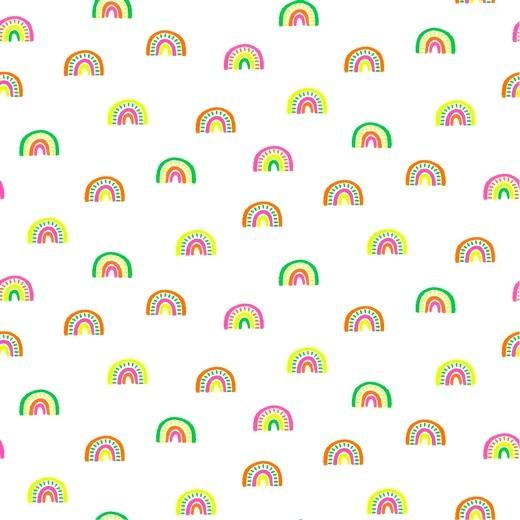 Jersey, Regenbogen neonbunt auf weiß