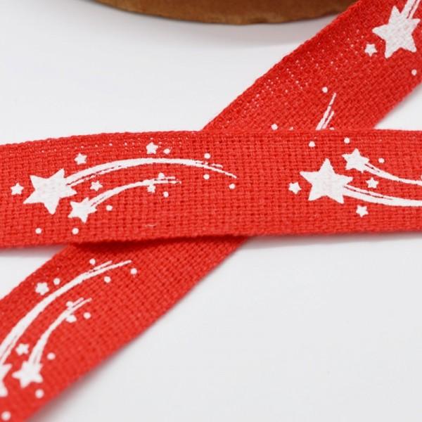 Sternschnuppe, rot, Baumwollband
