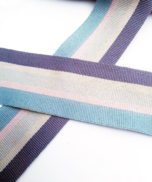 Streifen, grau-türkis, Ripsband