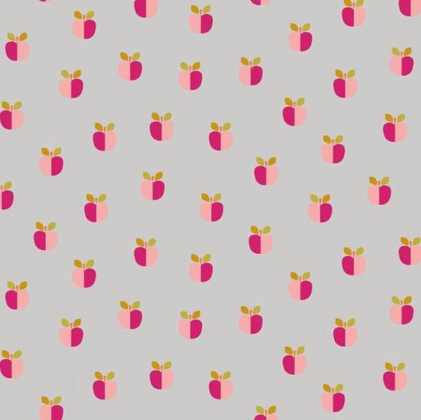 Alma, Laminat/Wachstuch, Äpfelchen auf grau