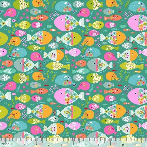 blendfabrics, Go Fish, Fische bunt auf türkisgrün, Webstoff