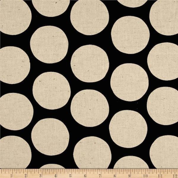 R. Kaufman, Flachs-Canvas Dots natur auf schwarz