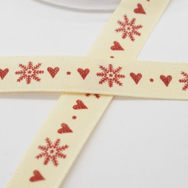 Schneeflocken und Herzen, rot, Stoffband