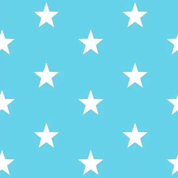 Lili Big Star weiß auf türkis, Webstoff, waschbar bei 60°