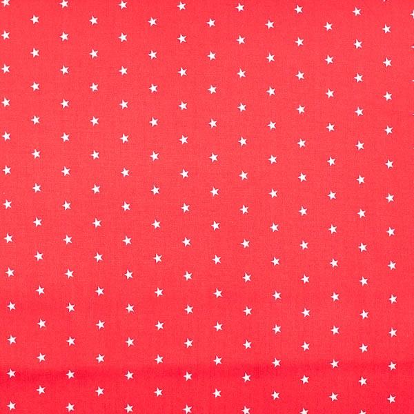 Maxi, kleine Sterne, weiß auf rot, Webstoff