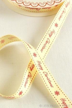 Happy Christmas, rot auf weiß, Ripsband
